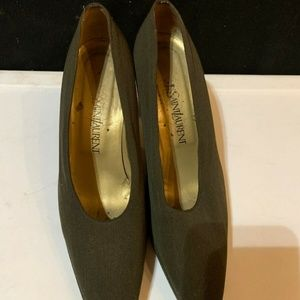 """Authentic YSL Canvas Olive Pump Heels, Size 9M, 3"""""""